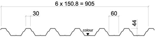 НЕСУЩИЕ АРОЧНЫЕ ЛИСТЫ T45-30L-905 размеры
