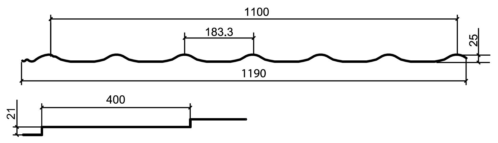 Металлочерепица Макси 0,4 Полиэстер размеры