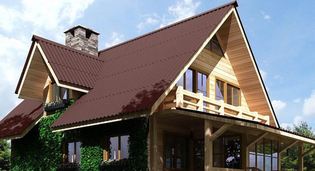 Многошипцовая крыша из ондулина