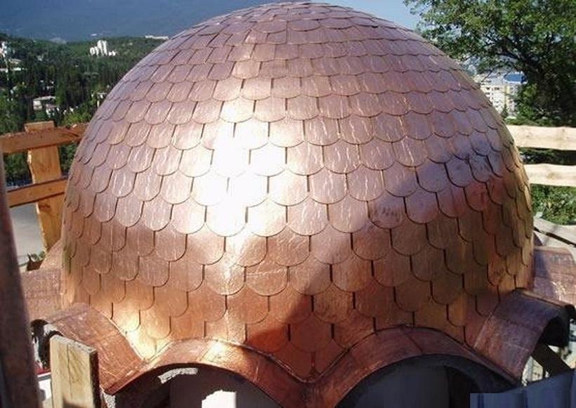 купольная крыша из гибкой черепицы