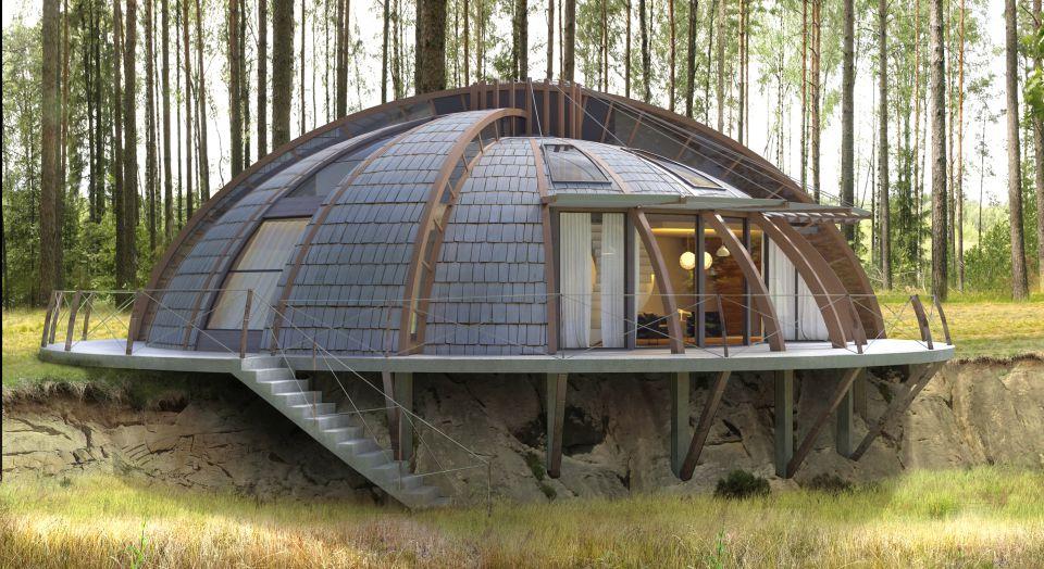 сланцевая купольная крыша