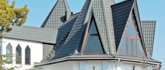 пирамидальная крыша шпиц из композитной черепицы