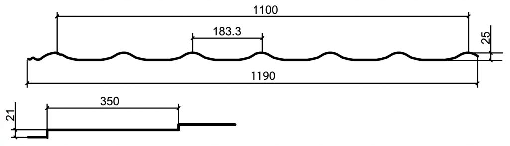 Металлочерепица Супермонтеррей чертёж